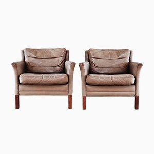Dänische Sessel aus Leder & Buchenholz, 2er Set