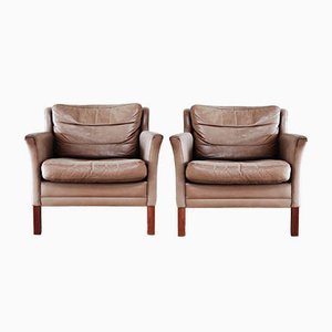 Danish Leather Lounge Armchairs, Set of 2