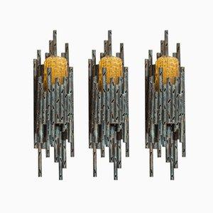 Brutalistische Schweizerische Metall & Glas Wandlampen, 1970er, 3er Set