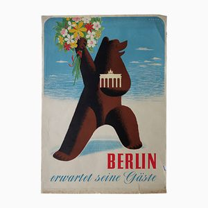 German 'Berlin Welcomes Guests' Poster by Alexander Wagner for E. Zander, 1949