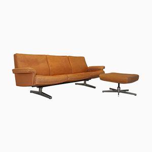 Schweizerisches Vintage DS 35 3-Sitzer Sofa und Hocker von de Sede, 1960er