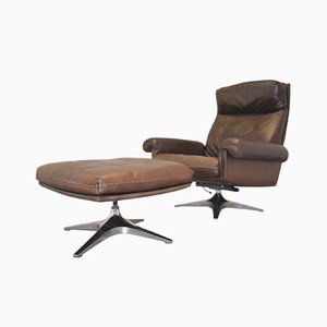 Vintage Swiss DS 31 Swivel Armchair and Ottoman from de Sede, 1970s