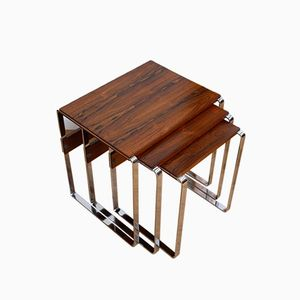 Norwegian Rosewood and Chrome Nesting Tables, 1970s