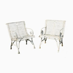 French Wrought Iron Garden Chairs with Armrests, 1990s, Set of 2