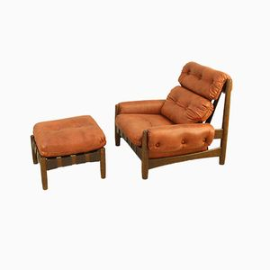 Scandinavian Oak Club Chair and Footstool, 1970s