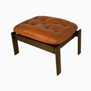 Italian Walnut and Leather Ottoman, 1960s