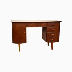 Danish Teak Desk with Curved Top, 1960s