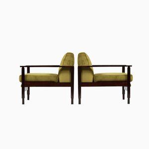 Italian Green Velvet Armchairs from Saporiti, Set of 2