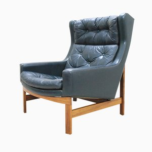 Green Rosewood Wingback Lounge Chair, 1975