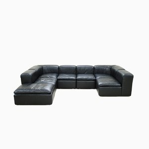 vintage cognac sofa from rossi di albizzate for sale at pamono. Black Bedroom Furniture Sets. Home Design Ideas