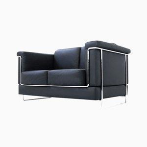 Swiss Model Carat Leather & Chrome Sofa by Roland Zünd for Züco