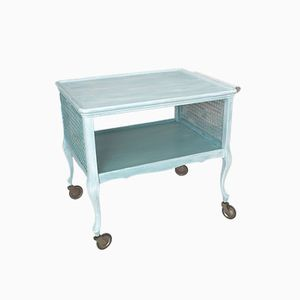 Vintage Turquoise Serving Trolley, 1950s