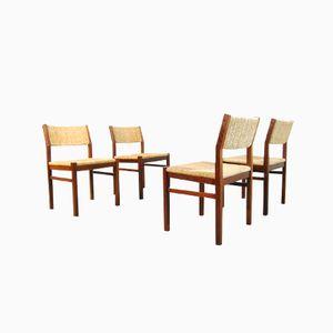 Esszimmerstühle aus Eschenholz & Schilf von Pastoe, 1970er, 4er Set