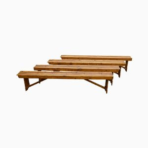 Industrial Wooden German Bench, 1930s