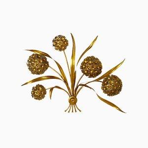Florale Vintage Wandlampe aus Blattgold