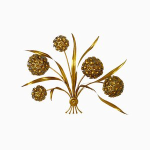 Lampada da parete vintage floreale dorata