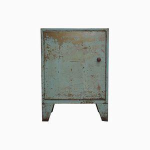 Mid-Century Industrial Slim Blue Metal Cabinet