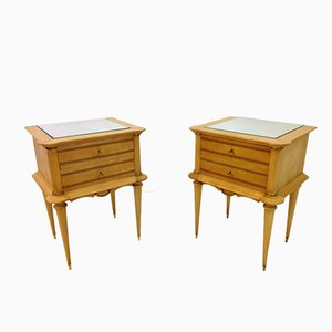 Mid-Century French Sycamore Bedside Tables, Set of 2