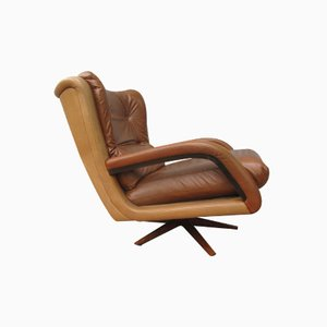 Vintage Two-Tone Leather Lounge Chair, 1960s