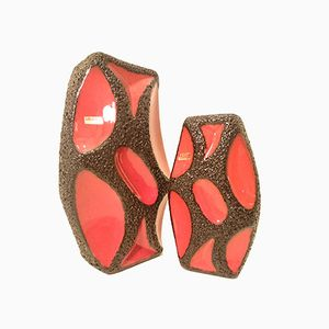 German Red and Black Fat Lava Lozenge Vases from Roth, 1960s