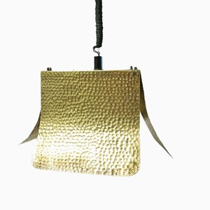 Italian Hammered Brass Hanging Lamp, 1960s