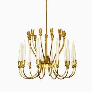 Brass and Frosted Glass Chandelier by Angelo Lelli, 1954