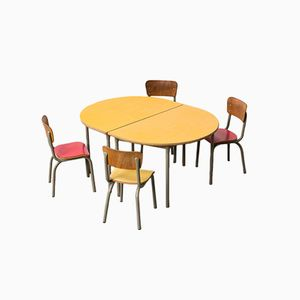 School Tables & Chairs Set from Tubax, 1950s