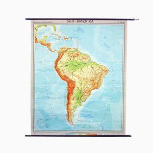 Vintage Schullandkarte Südamerikas