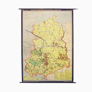 Vintage Schullandkarte der DDR Industrie