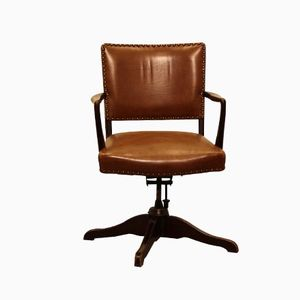 Vintage Leather Office Chair, 1930s