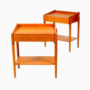 Danish Teak Bedside Tables by Børge Mogensen for Søborg Møbler, 1950s, Set of 2