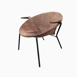 Danish Balloon Teak and Suede Chair by Hans Olsen for Lea Design, 1960s