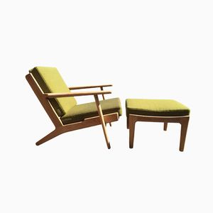 Danish GE 290 Lounge Chair and Ottoman by Hans J. Wegner for Getama, 1960s