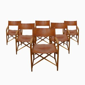 Mid-Century Danish Folding Safari Style Chairs, Set of 6