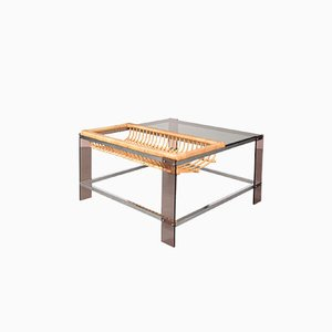 dutch chrome smoked glass and rattan coffee table 1970s - Rattan Coffee Table