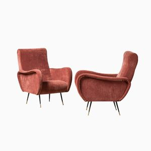 Italian Mid-Century Red Velvet Club Chairs, Set of 2