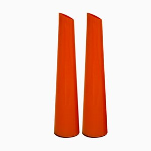 Tall Italian Orange Glass Vases, 1970s, Set of 2