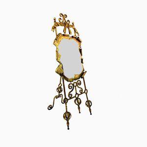 Grand Miroir Vintage en Fer Forgé Doré, Espagne