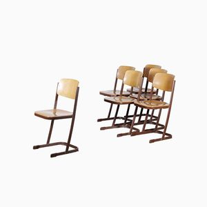 Chaises d'Ecole, Pays-Bas, 1950s, Set de 6
