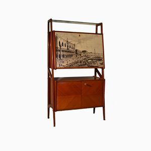 Italian Teak Cabinet Bar, 1950s