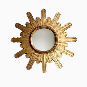 Vintage Carved Sunburst Mirror, 1960s