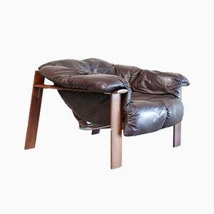 Brasilianischer MP 129 Leder Lounge Stuhl von Percival Lafer, 1976