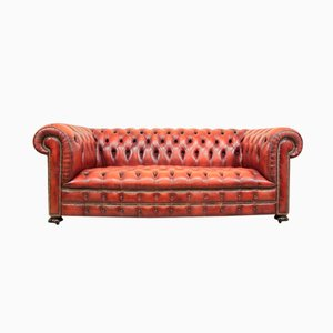 Red Leather Chesterfield, 1980s