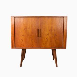 Tambour Door Teak Cabinet by Kai Kristiansen for Feldballes Møbelfabrik, 1960s