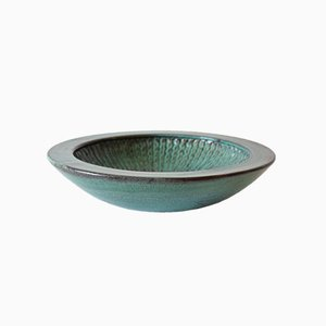Danish Double-Glazed Green and Black Bowl by Nils Kähler for HAK
