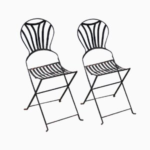 Antique French Folding Garden Chairs, Set of 2