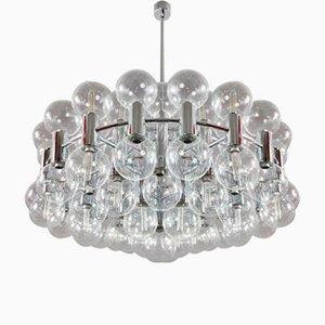 Modernist Chrome and Glass Chandelier by Motoko Ishii for Staff, 1970s