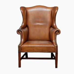 English Tan Leather Wingback Chair, 1920