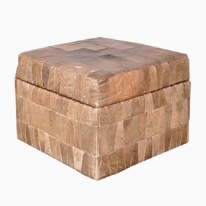 Leather Patchwork Pouf or Storage Box from De Sede, 1960s