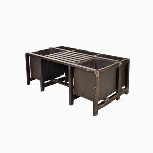 Panca con spazi portaoggetti in legno dipinto di nero, anni '50